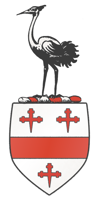 Crane of Suffolk, England Coat Of Arms. Argent, a fesse between three crosses crosslet fitchée Guls, crest a crane ppr.